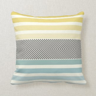Aqua Yellow Gray Off White Arrow Herringbone Throw Pillow