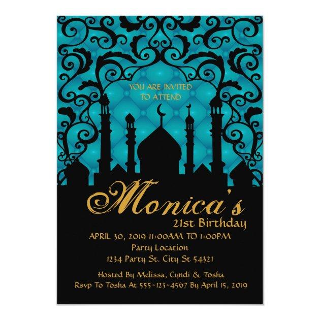 Arabian Nights 21st Birthday Invitations