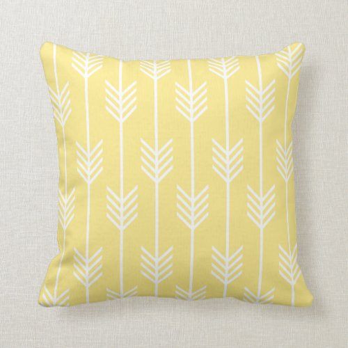Arrow Fletching Pattern Pastel Yellow Throw Pillow