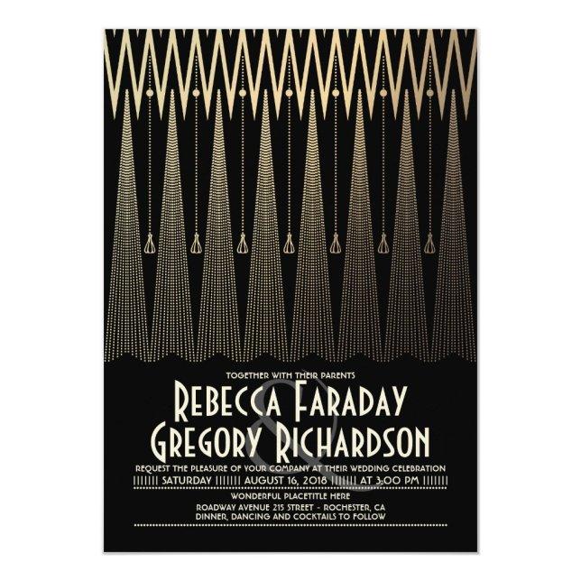 Art Deco Black and Gold Gatsby Chic Wedding Invitation