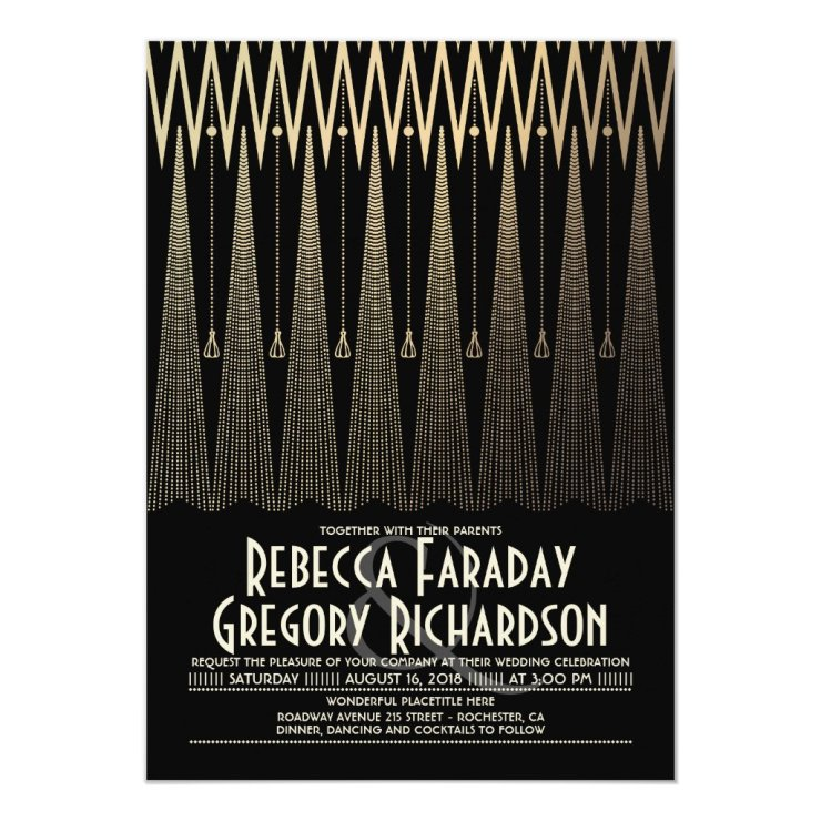 Art Deco Black and Gold Gatsby Chic Wedding Invitation