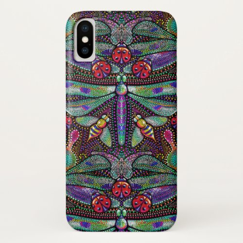 Art nouveau dragonfly damask case for iPhone X