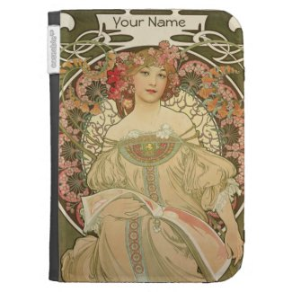 Art Nouveau Lady Reading Girly Kindle Case