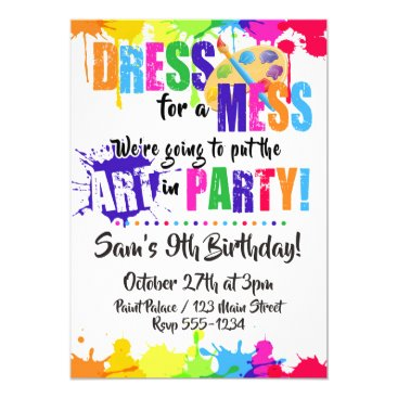 Art / Paint / Craft Birthday Party Invitations