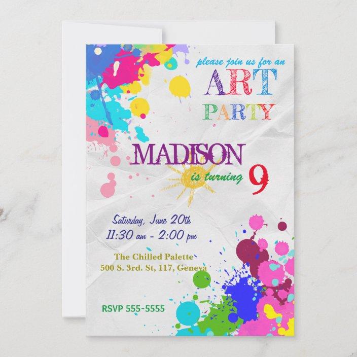 art painting party birthday invitation zazzle com