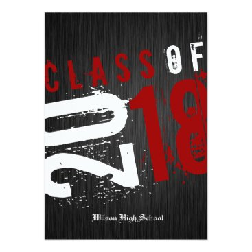 Artistic Black, White and Red Class of 2018 Invitation