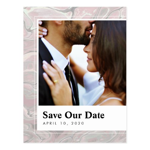 Artistic Boho Blush Marble Save the Date Postcard