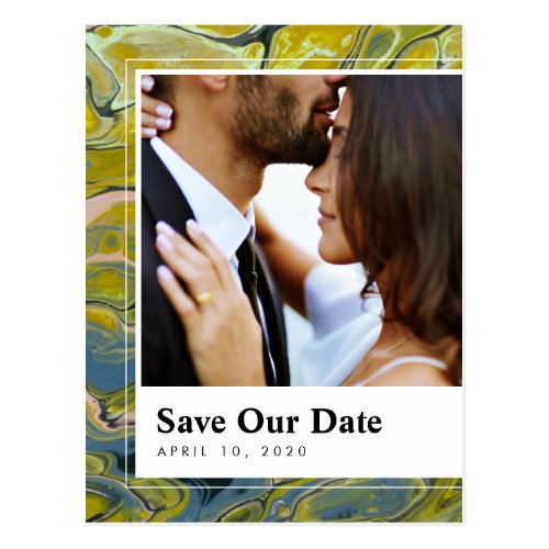 Artistic Boho Lime Marble Save the Date Postcard