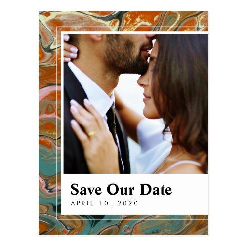 Artistic Boho Orange Marble Save the Date Postcard