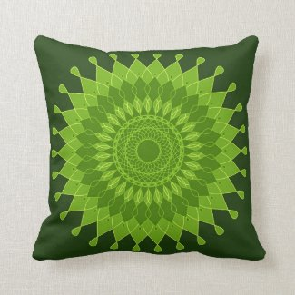 Artistic green mandala pattern pillows