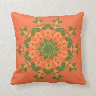 Artistic green orange mandala pillows