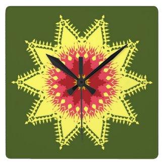 Artistic mandala on green wall clocks