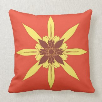 Artistic mandala on orange pillows