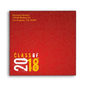 Artistic Red and Yellow Class of 2018 Envelope