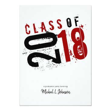 Artistic Red, Black and White Class of 2018 5x7 Invitation