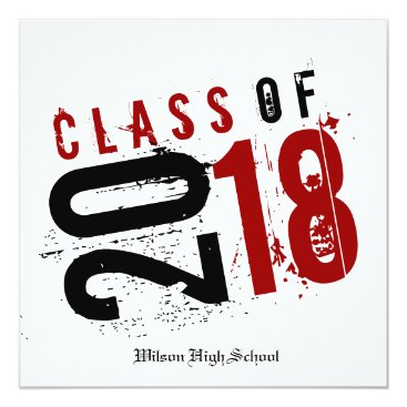 Artistic Red, Black and White Class of 2018 Card