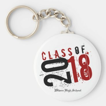 Artistic Red, Black and White Class of 2018 Keychain