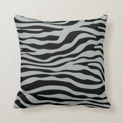 Ash Gray; Grey and Black Zebra Animal Print Pillow