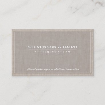 Attorney Beige Linen Elegant Professional Business Card