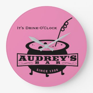 Audrey's Bar Wall Clock - It's Drink O'Clock