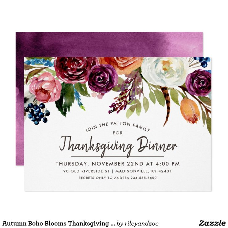 Autumn Boho Blooms Thanksgiving Dinner Invitation