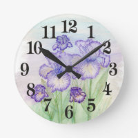 Autumn Circus and Art Deco Iris' Round Wall Clock