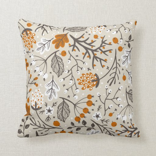 Autumn Fall Berries Leaves and Branches Pattern Throw Pillow