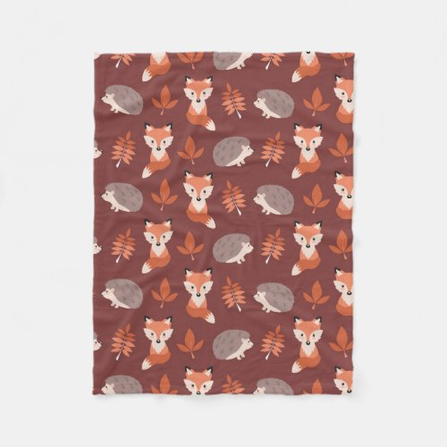 Autumn Fall Hedgehog and Fox Blanket