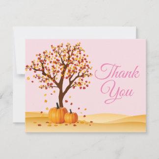 Autumn Fall Trees Pumpkin Thank You card