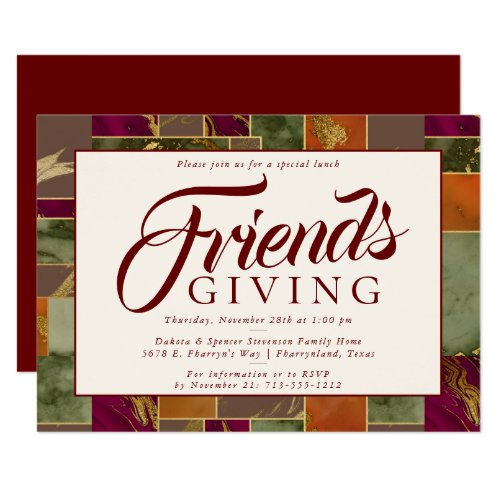 Autumn Friendsgiving Gold Burgundy Marble Dinner Invitation