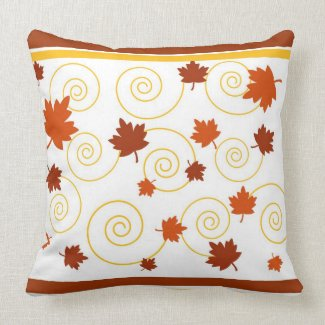 Autumn leaves and spiral throw pillows