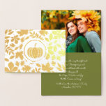Autumn Leaves & Pumpkin Luxury Thanksgiving Photo Foil Card