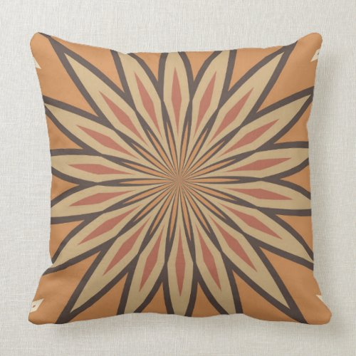 Autumn Pumpkin Spice Flower Star Throw Pillow