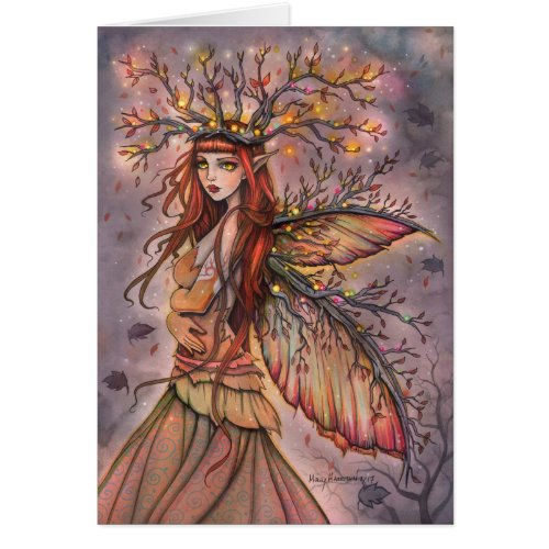 Autumn Queen Fairy Fantasy Art Card