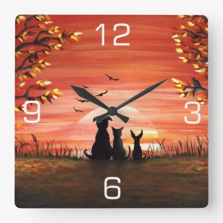 Autumn Sunset Square Wall Clock