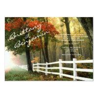 Autumn Trees Fall Leaves Fence Wedding Invitations