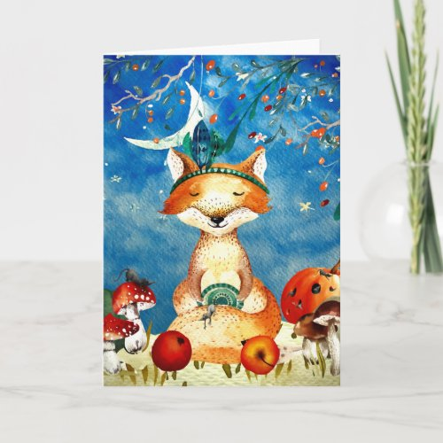 Autumn Woodland Friends Fox Forest Illustration Card