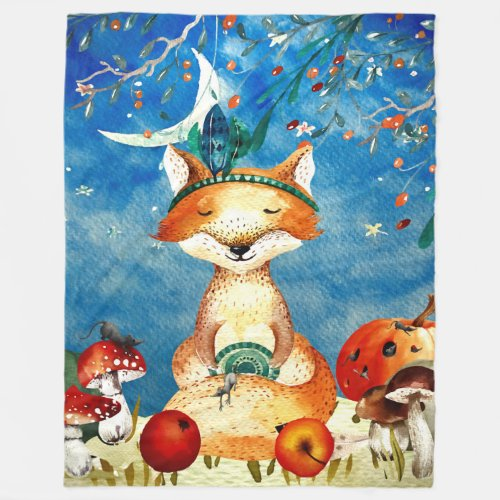Autumn Woodland Friends Fox Forest Illustration Fleece Blanket