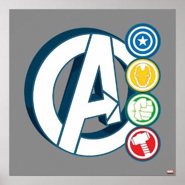 Avengers Character Logos Poster