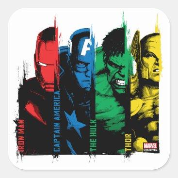 Avengers Classics   Paint Brush Lineup Square Sticker