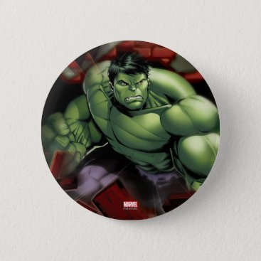 Avengers Hulk Smashing Through Bricks Pinback Button