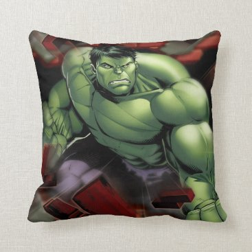 Avengers Hulk Smashing Through Bricks Throw Pillow