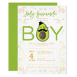Avocado Holy Guacamole Boy Baby Shower Taco Party Invitation (also available in black)