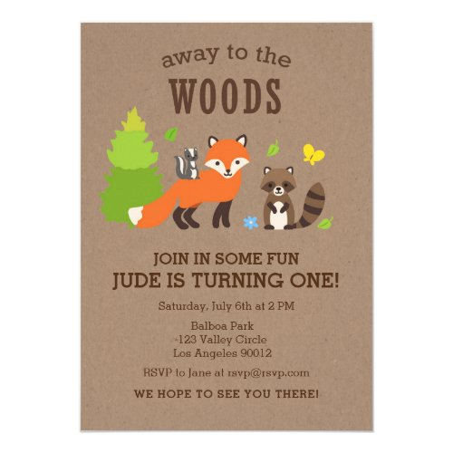 Away to the Woods Birthday Boy Invitation