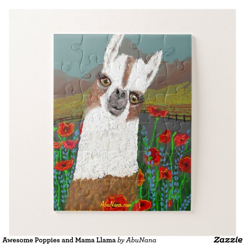 Awesome Poppies and Mama Llama Jigsaw Puzzle