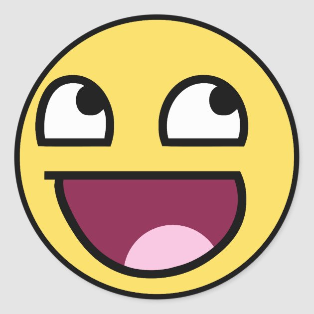 Awesome Smiley Face Rage F7u12 Funny Meme Classic Round