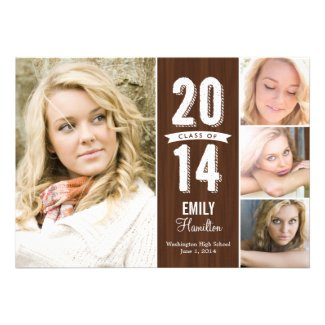 Awesome Year Graduation Announcement - Wooden