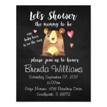 Baby Bear Baby Shower Invitations - Chalkboard