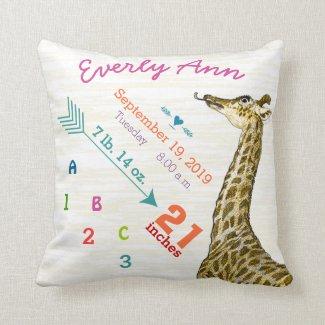 Baby Birth Stats Cute Giraffe Heart and Arrow Throw Pillows