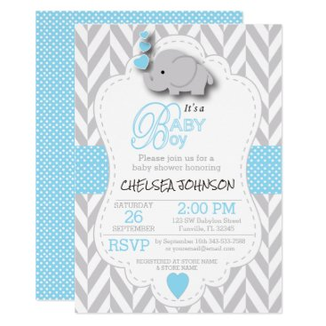 Baby Blue, White Gray Elephant Baby Shower Invitation